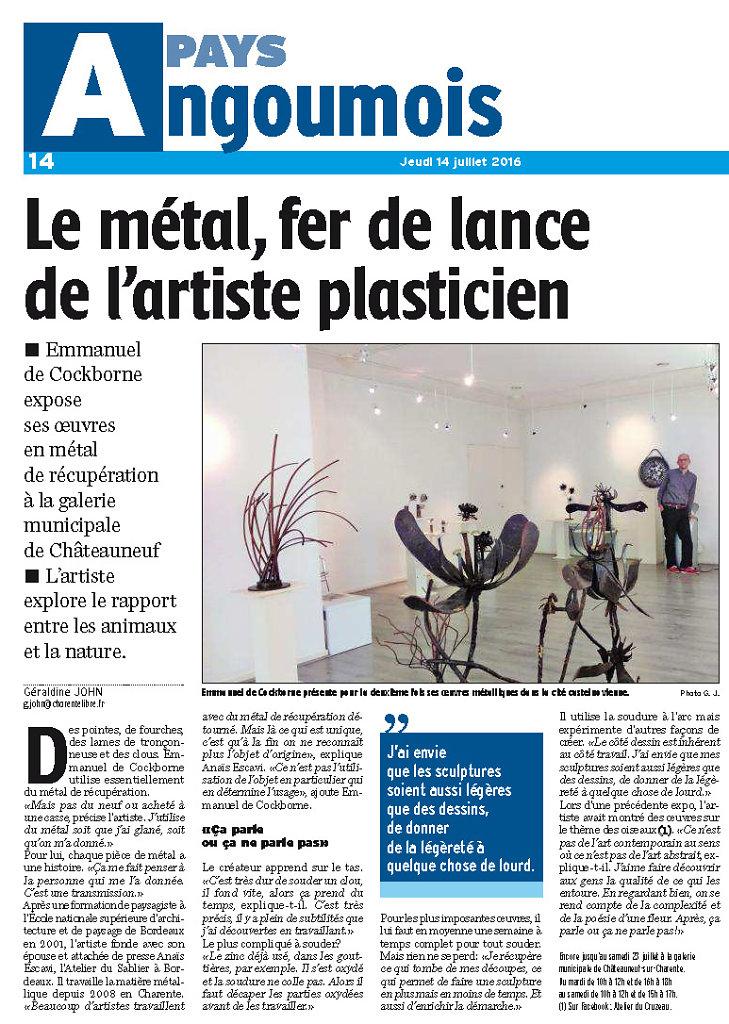 article Charente Libre 14 juillet 2016