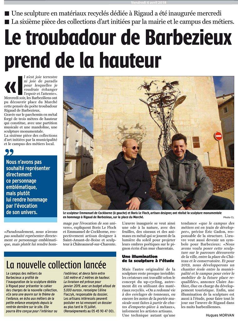 Evocation de Rigault de Barbezieux dans la Charente libre le 6 avril 2018