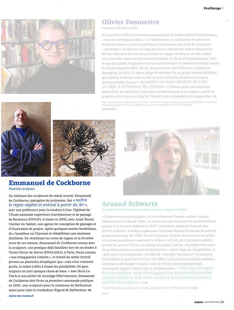 Le Festin, numéro de printemps 2018 Page têtes-à-têtes...